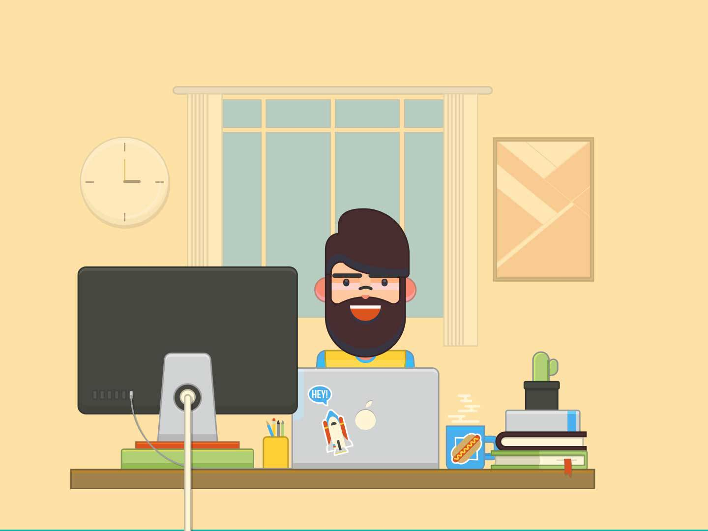 illustration showing a freelance graphic designer at a comfortable home office