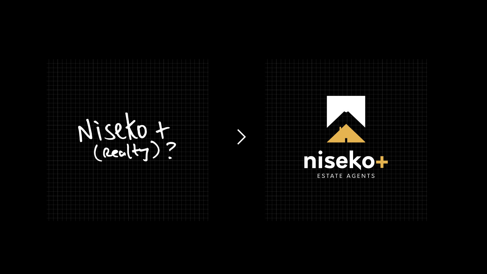 a brand and logo usually starts off with a simple idea before evolving into a beautiful and memorable logo mark as shown in this example for Niseko+ Estate Agents