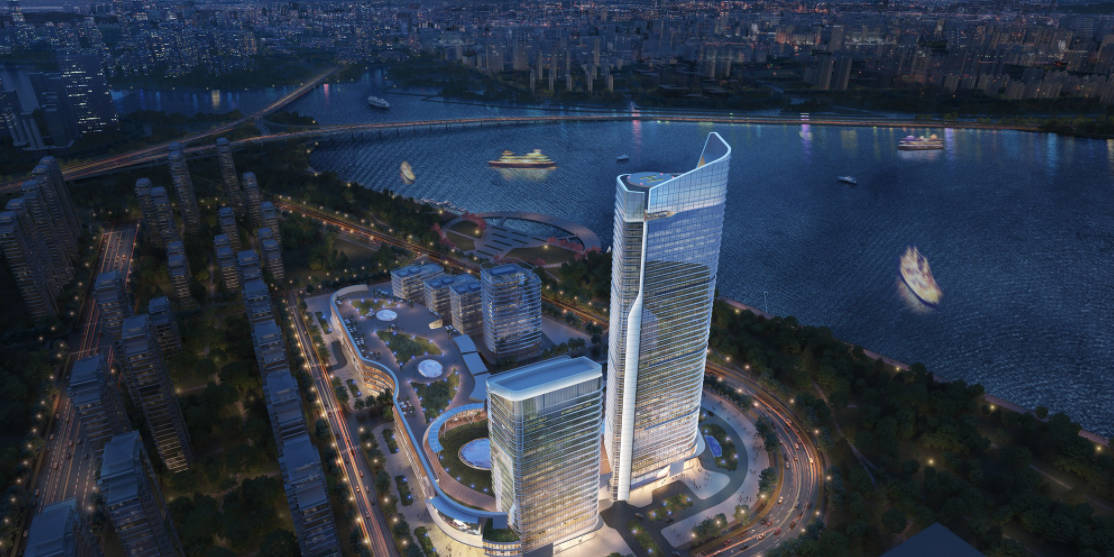 External render of city towers in Suzhou by RaySpace